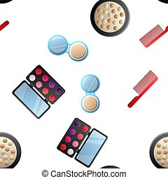 Cosmetic seamless pattern. Hand drawn cartoon doodle Vector seamless pattern with makeup items - nail polish, mirror, perfume