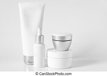 Cosmetic set - Cosmetic antiaging line on light background....