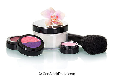 Cosmetic set for makeup isolated on white.