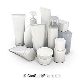 Cosmetic set from various means on a white background. 3d...