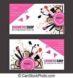Cosmetic shop business card design set cosmetic products for cosmetic shop business card design set cosmetic products for professional make up artists vector colourmoves