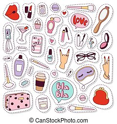 Cosmetic stickers vector set.
