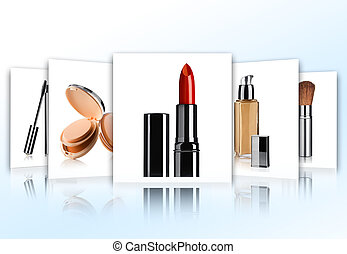cosmetic - Cosmetic theme collage composed of different...