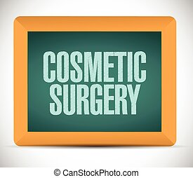 cosmetic surgery board sign illustration design over a white...