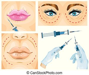 Cosmetic surgery concept. Woman facial wrinkle treatment....
