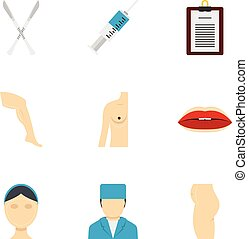 Cosmetic surgery icon set, flat style - Cosmetic surgery...