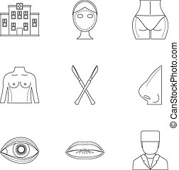 Cosmetic surgery icon set, outline style - Cosmetic surgery...