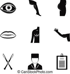 Cosmetic surgery icon set, simple style - Cosmetic surgery...