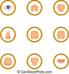 Cosmetic surgery icons set, cartoon style - Cosmetic surgery...