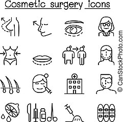 Cosmetic Surgery, Surgical operation icon set in thin line...