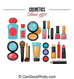 Cosmetic tools beauty products. Facial Makeup.
