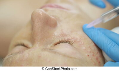 Cosmetic treatment with injection in a clinic. skin fortification