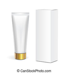 Cosmetic tube container, gold lid and box 3d - Cosmetic tube...