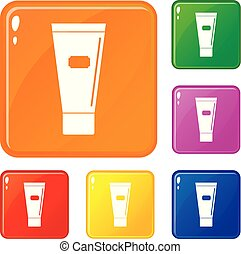Cosmetic tube of cream or gel icons set vector color