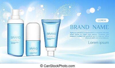 Cosmetic tubes mock up, beauty cosmetics bottles