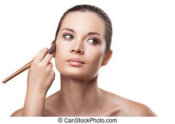 cosmetic., zwracający się, makeup., charakteryzacja