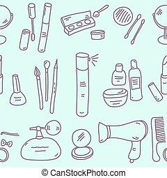 cosmetica, modello, schizzo