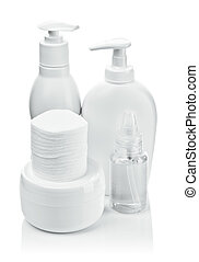 cosmetical bottles and pads with cream and deodorant
