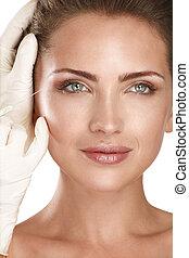 cosmetico, bello, modello, iniettare, trattamento, giovane