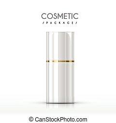 cosmetico, lucido, pacchetto