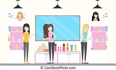 cosmetico, negozio, interior.