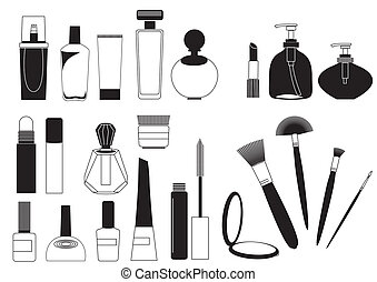 cosmetico, prodotti, .vector, collezione, bianco, per,...