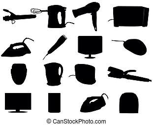 cosmetico, pulizia, e, riscaldamento, apparecchi, -, vettore, illustrazione