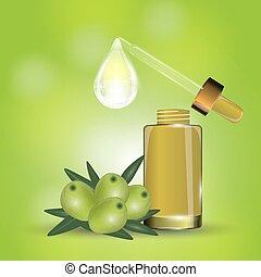 cosmetico, spruzzo, bokeh, siero, ogive, fondo, collageno, idratante, drop., verde, lusso