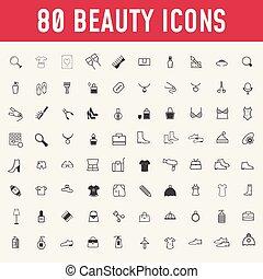 cosmetics., 美しさ, 構造, セット, icons., 80