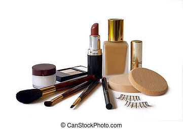 Cosmetics - An assortment of women's make-up - foundation, ...