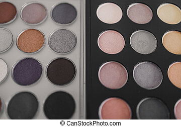 cosmetics and beauty, close-up of two similar eyeshadow ...