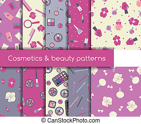 Cosmetics and beauty seamless patterns - Set of ten ...