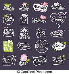 Cosmetics and beauty signs set