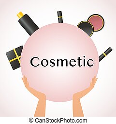 Cosmetics and fashion background with make up artist objects lipstick, cream, blush, mascara, gift. With place for your text. Female hands hold powder, eye shadow, ink for eyelashes and lipstick. Concept makeup, fashion and beauty image Vector illustration