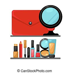 Cosmetics and fashion make up objects