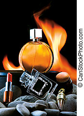 Cosmetics and Perfumes - Arrangement of makeup items and...
