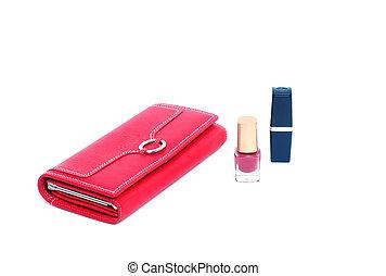 cosmetics and purse feminine red