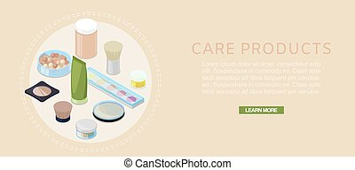Cosmetics and skin care vector illustration banner. Cosmetic cream containers for cream, lotion, gel, balsam and eye shadow. 3d isometric cosmetology make up collection.