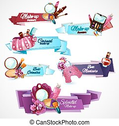 Cosmetics Banner Set - Cosmetics banner set with make-up...