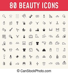 cosmetics., beauté, maquillage, ensemble, icons., 80