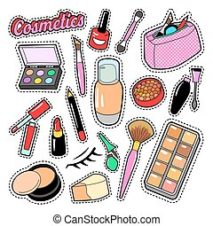 Cosmetics Beauty Fashion Makeup Elements with Lipstick and Mascara for Stickers, Badges, Patches. Vector doodle