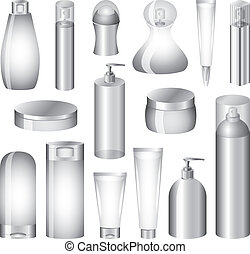 cosmetics bottles and packing photo realistic vector set