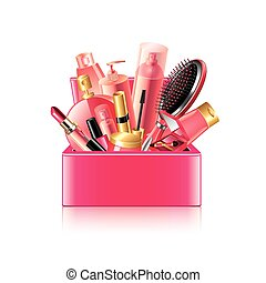 Cosmetics box isolated on white vector - Cosmetics box ...