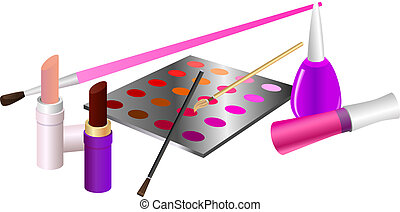 Cosmetics - Cosmetic set. Lipstick, lip gloss, eye shadow ...
