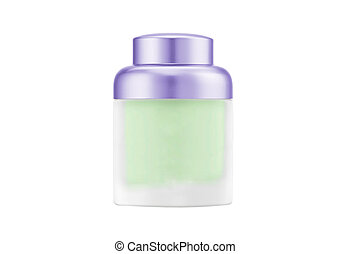 Cosmetics cream bottle with a white background