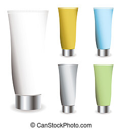 Cosmetic cream collection in different colred tubes with shadows