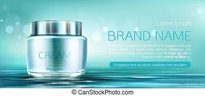 Cosmetics cream jar mock up banner. Beauty product