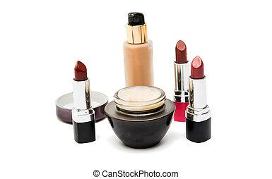 Cosmetics cream, lipstick isolated