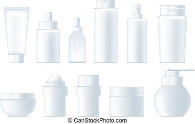 Cosmetics empty bottle advertisement realistic set. Vector graphic design isolated illustration