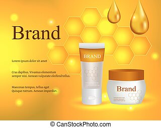 Cosmetics, face and body cream, honey lotion with a drop of honey and honeycombs on a gentle background, advertising, design, 3d vector realistic, eps 10